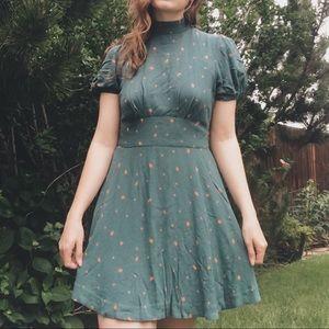 Free People Abbie Printed Mini Dress in Green